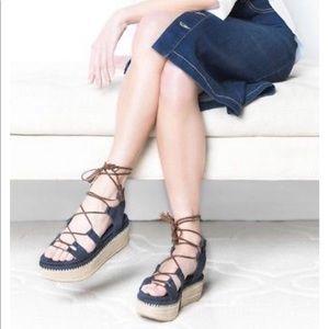 Stuart Weitzman Romanesque Lace-Up Platform Sandal